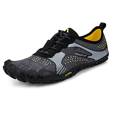25fc21085076 Troadlop Men s Trail Running Shoes Lightweight Breathable Non Slip Barefoot  Sneakers Black Grey Size 6.5