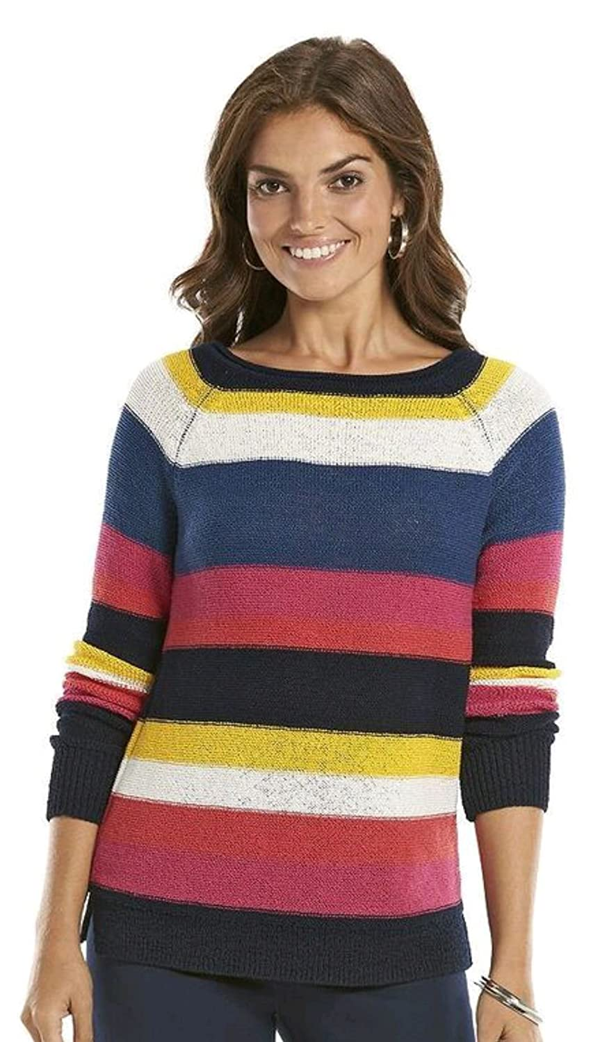 a392058836e4f Chaps Women s Striped Boatneck Sweater at Amazon Women s Clothing store