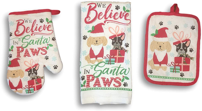 Plum Nellie's Treasures Christmas Kitchen Festive Holiday Sets - Kitchen Towel, Pot Holder & Oven Mitt 3 Piece Sets (Dog Lover We Believe in Santa Paws)