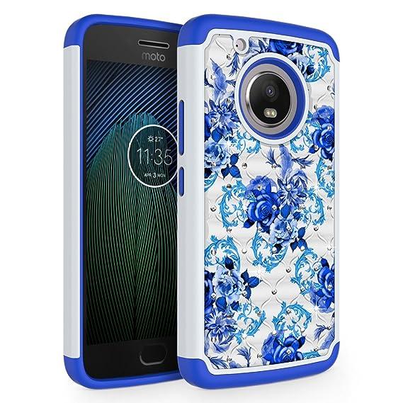 buy popular 3e792 e7841 Moto G5 Plus Case, SYONER [Rhinestone Bling] Defender Phone Case Cover for  Motorola Moto G5 Plus 2017 Released [Flower]