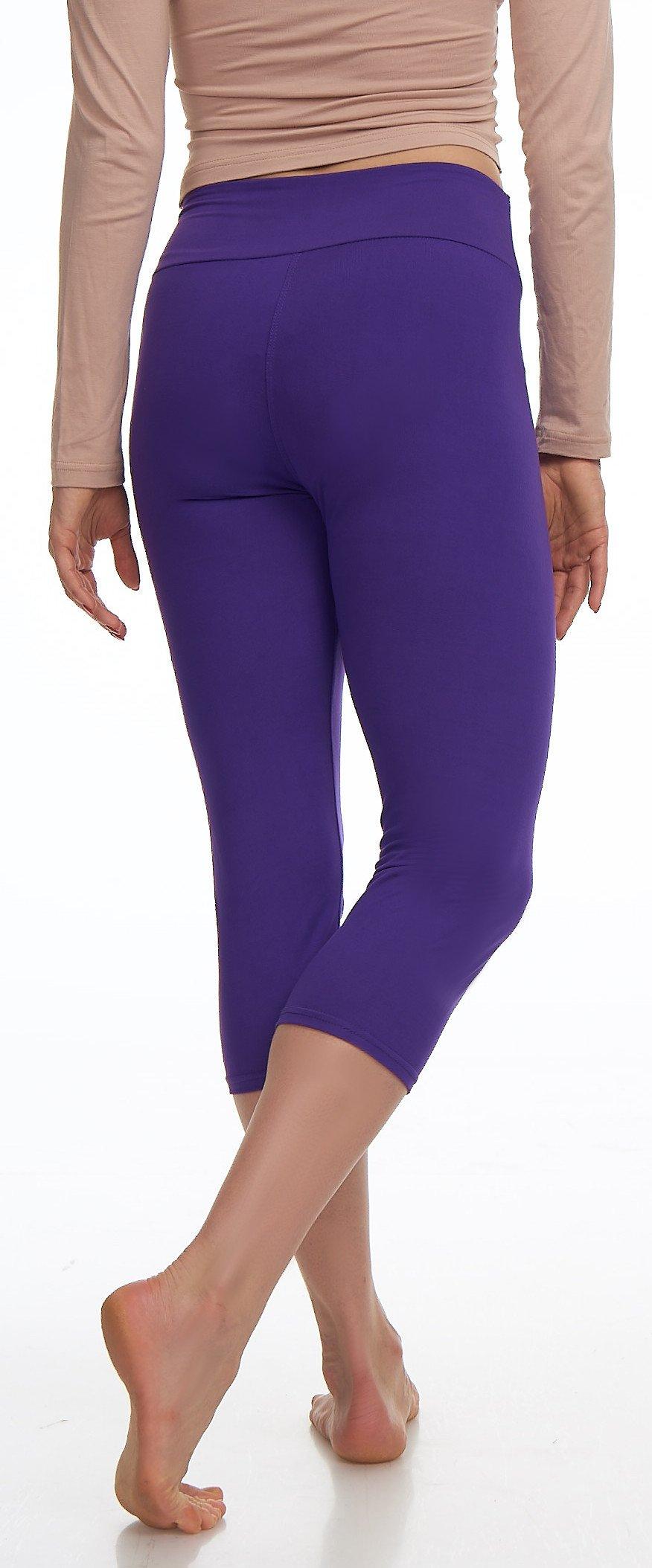 Lush Moda Extra Soft Leggings Variety of ColorsPlus Size Yoga Waist Purple, One Size fits Most (XL 3XL), Purple Yoga Waist by LMB (Image #5)