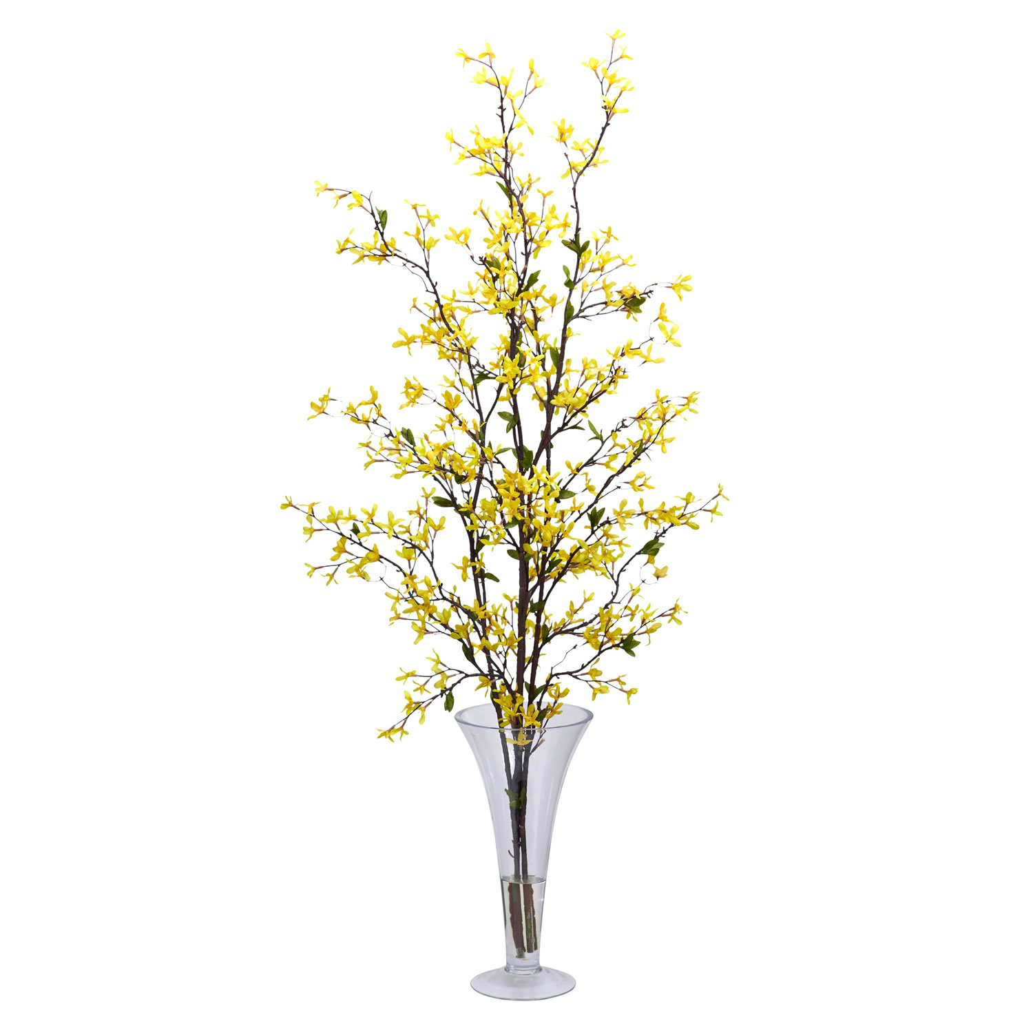 Nearly Natural 1254 Forsythia with Vase Silk Flower Arrangement, Yellow