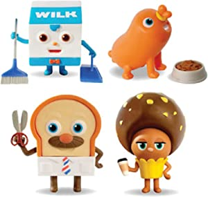 BreadBarbershop 4 Figures Set ,TV Character Item (Bread, Sausage,Choco,Wilk) for Christmas Birthday Boys Girls Toy Figure