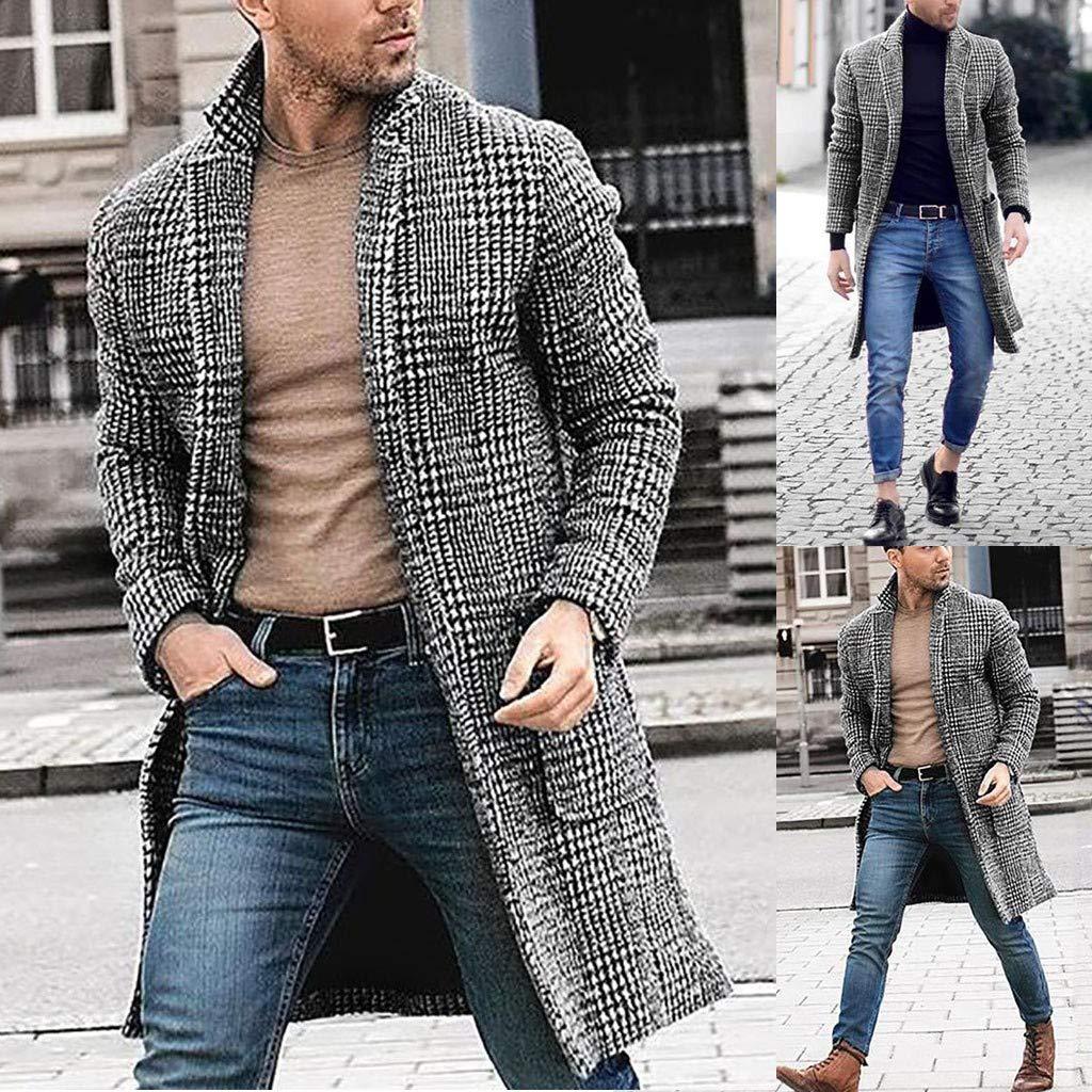 Giacca Sportiva Outwear Sottile Stile Selvaggio Business Selou Giacca Lunga da Uomo Lunga Casual Casual da Uomo in Pied-De-Poule Cappotto Invernale