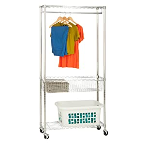 Honey-Can-Do SHF-04272 Rolling Laundry Station with Adjustable Baskets, 35.5 x 13.5 x 75.5, Chrome