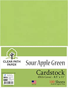 Sour Apple Green Cardstock - 8.5 x 11 inch - 65Lb Cover - 100 Sheets - Clear Path Paper