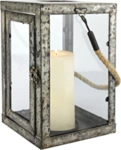 Stonebriar Rustic Antique Zinc Metal Candle Lantern with Rope Handle, 11 Inch, Gray