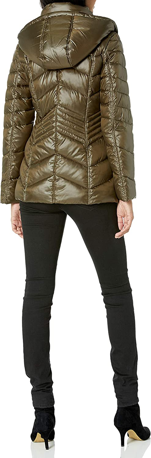 French Connection Womens Chevron Quilted Packable Jacket
