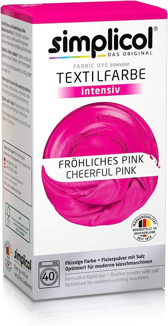 Simplicol Kit de Tinte Textile Dye Intensive Rosa: Colorante para Teñir Ropa, Tejidos y Telas Lavadora, Contiene Fijador para Colorante Líquido, Anti ...