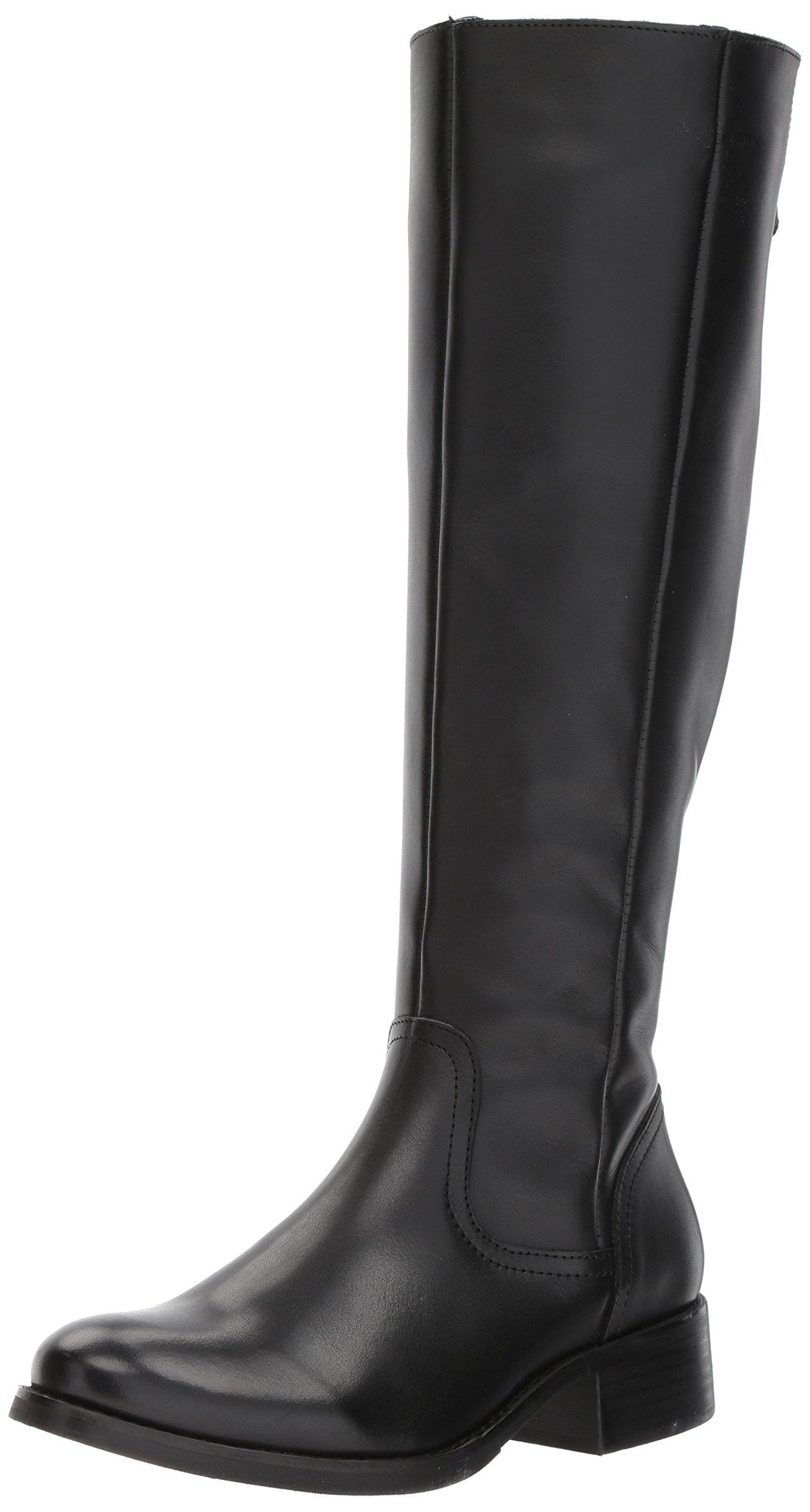 Steve Madden Women's Lover Western Boot, Black Leather, 8.5 M US
