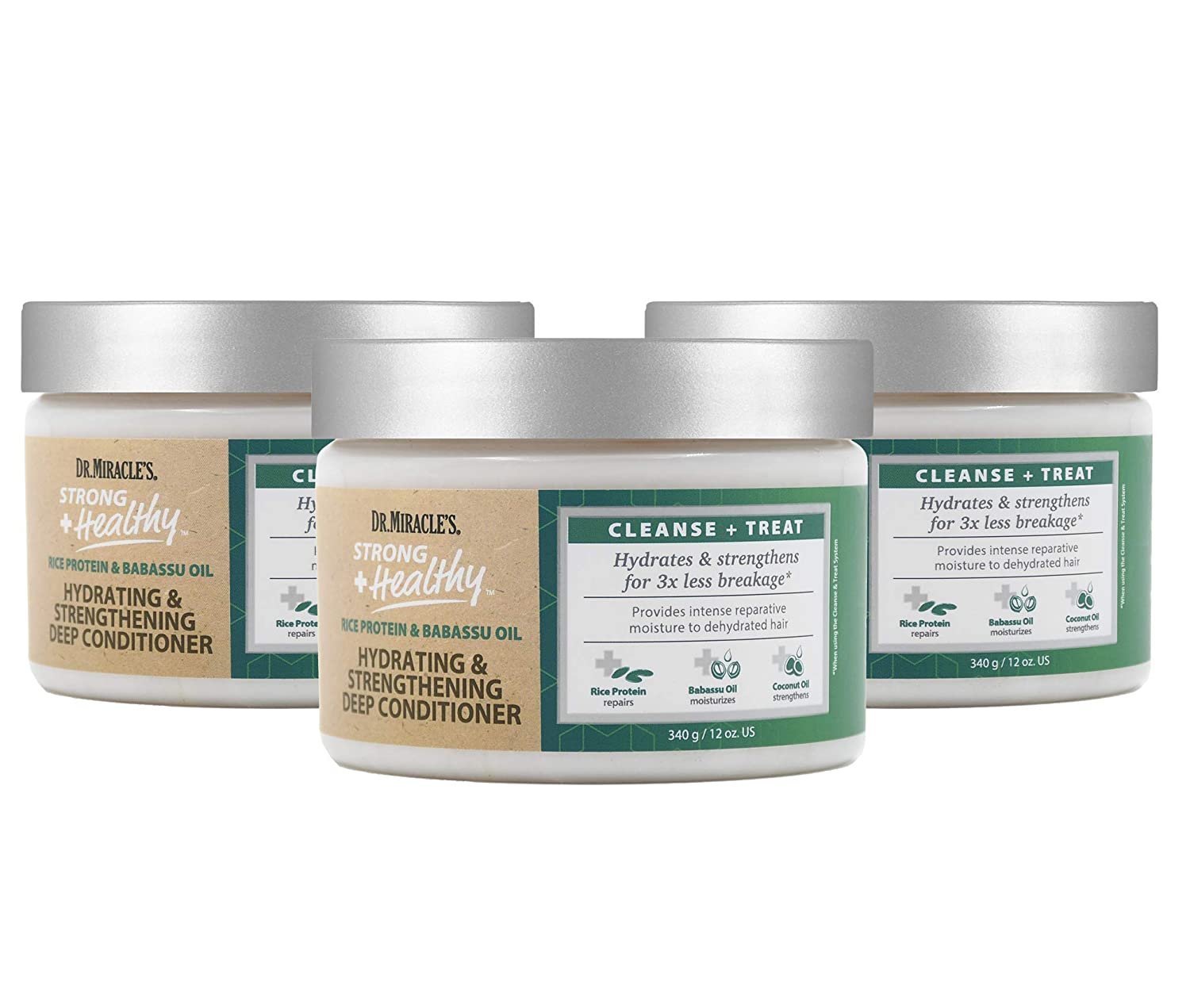 Dr. Miracle's Strong & Healthy Hydrating & Strengthening Deep Conditioner (3 Pack). Contains Coconut Oil to provide intense moisture and repair damaged hair.