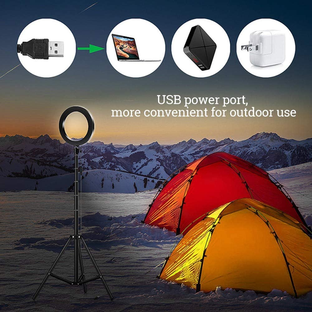 Black Hound Ring Fill Light with Tripod Stand for YouTube 8-inch Ring Light with Phone Holder for Smartphone Self-Portrait Video Shooting USB Cable 3 Light Modes and 10 Brightness Level