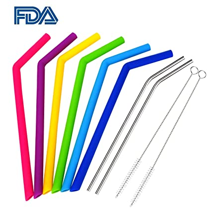 cf8bac4cab2 WEBSUN Reusable Silicone Straws Set With Pouch 6 PCS Silicone Straws for 30  oz Yeti Tumbler