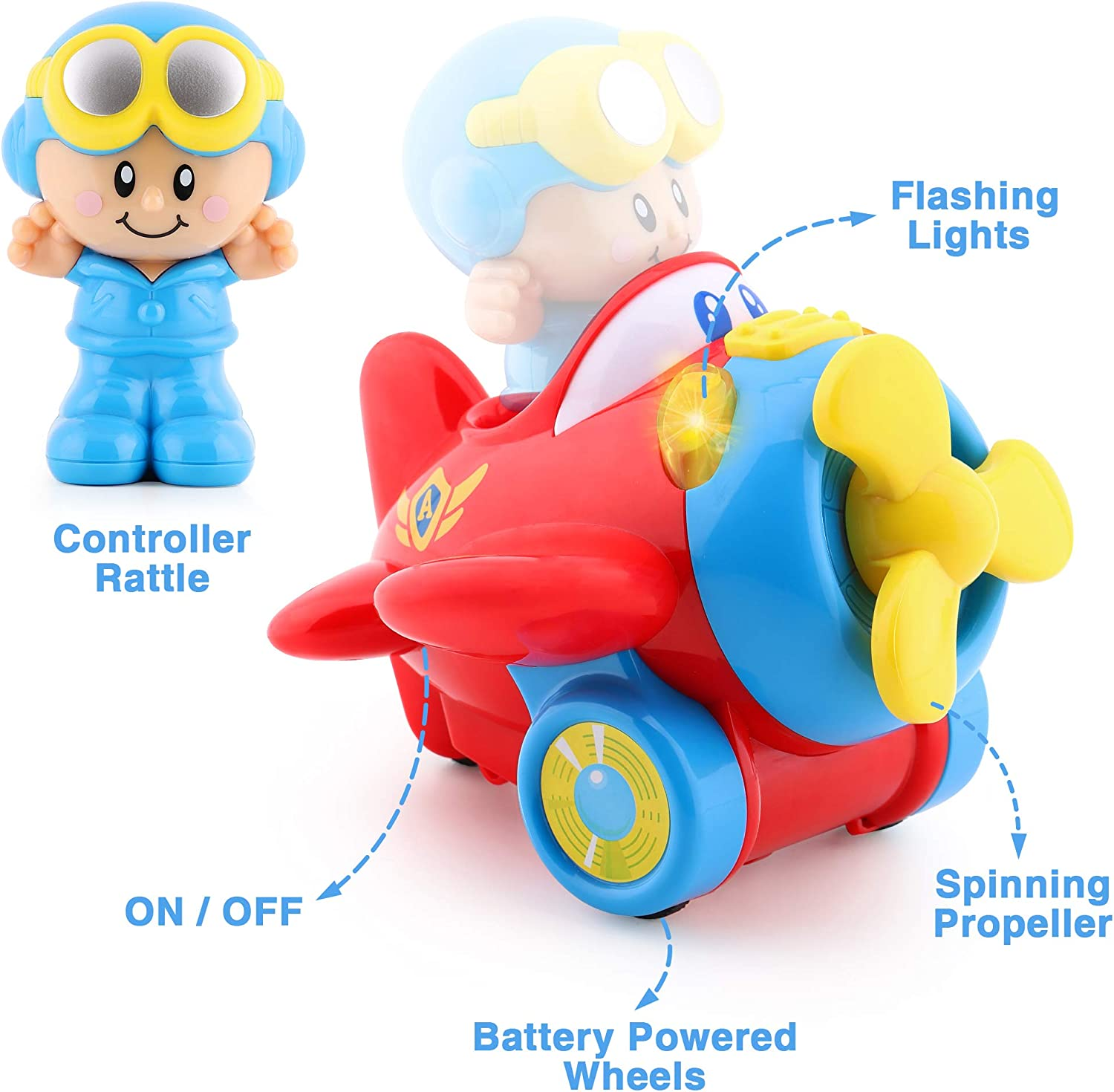 2 3 Year Olds Infants Toddlers Kids Boys Girls Birthday Gift for 12 Electronic Plane n Pilot W//Lights /& Sounds iPlay 18 Month Interactive Crawl Toy Baby Rattles iLearn Baby Musical Airplane Toy