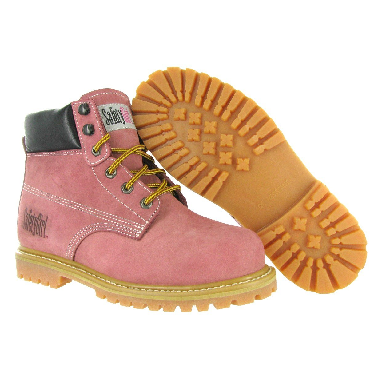Safety Girl GS003-Lt Pink-9M Steel Toe Work Boots - Light Pink - 9M, English, Capacity, Volume, Leather, 9M, Pink () by Safety Girl (Image #2)