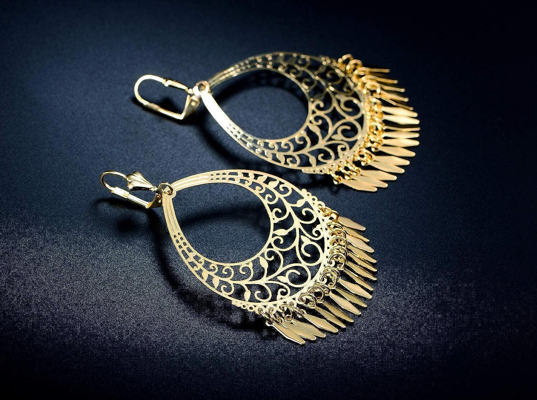 Barzel 18K Gold Plated Filigree Cut-out Dangling Earrings