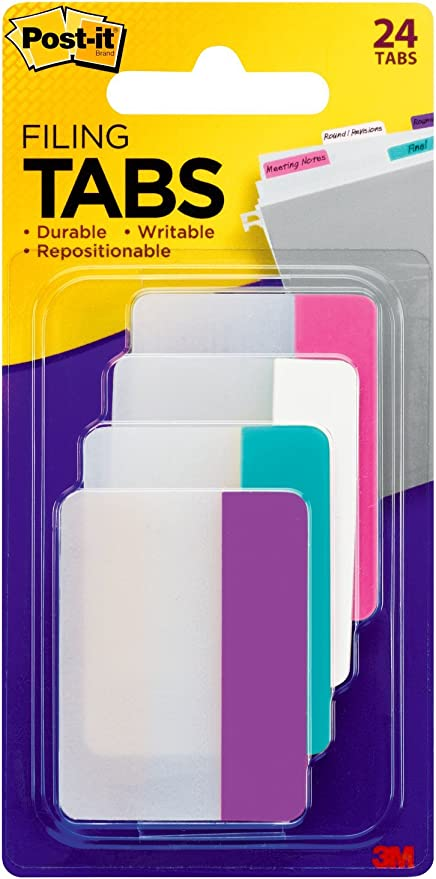 Post-It Index Thicker Long Lasting Angled Filing Tabs Pack Of 24