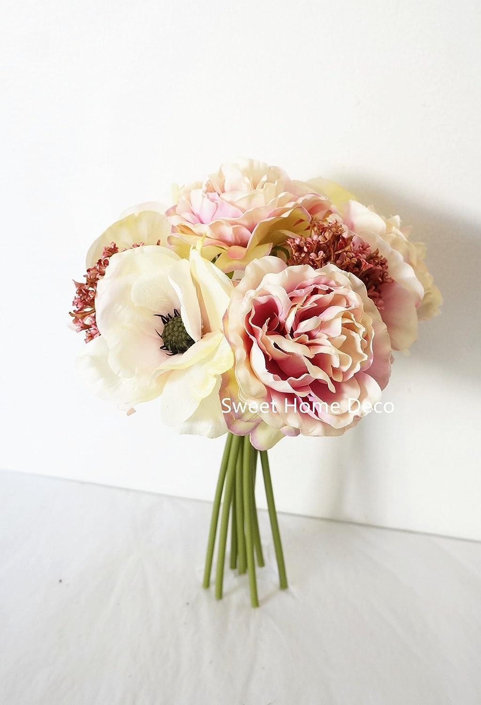 Amazon Sweet Home Deco 10 Blooming Peony And Anemone Silk