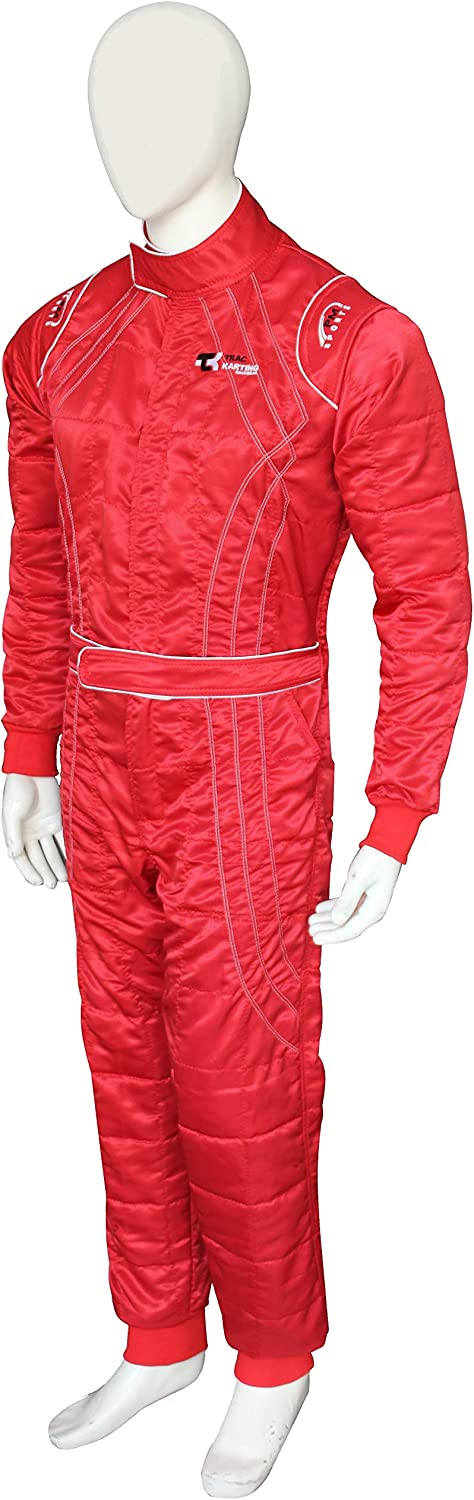 New Adult Karting//Race//Rally One Piece Suits Cherry Shiny Fabric 2 Layer Karting Suit 4 Brilliant Colors Black, XXL