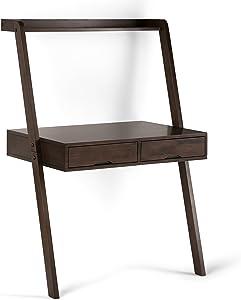 Simpli Home AXCALK-14 Aleck Solid Wood Rustic 36 inch Wide Modern Leaning Desk in Warm Walnut Brown