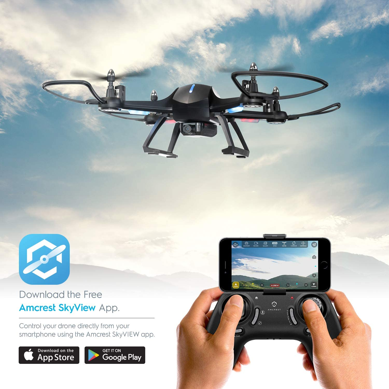 Amcrest A6-B Skyview Pro RC WiFi Drone con cámara HD 720p FPV Quadcopter Drone con cámara para Adultos, 2.4 GHz WiFi Helicóptero con Control Remoto, Stunt Flip, Modo sin Cabeza, Smartphone (Negro):