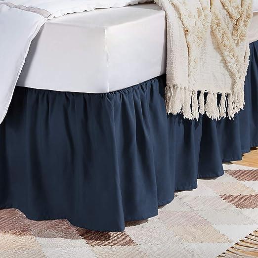 Amazon.com: AmazonBasics Ruffled Bed Skirt   Queen, Navy Blue