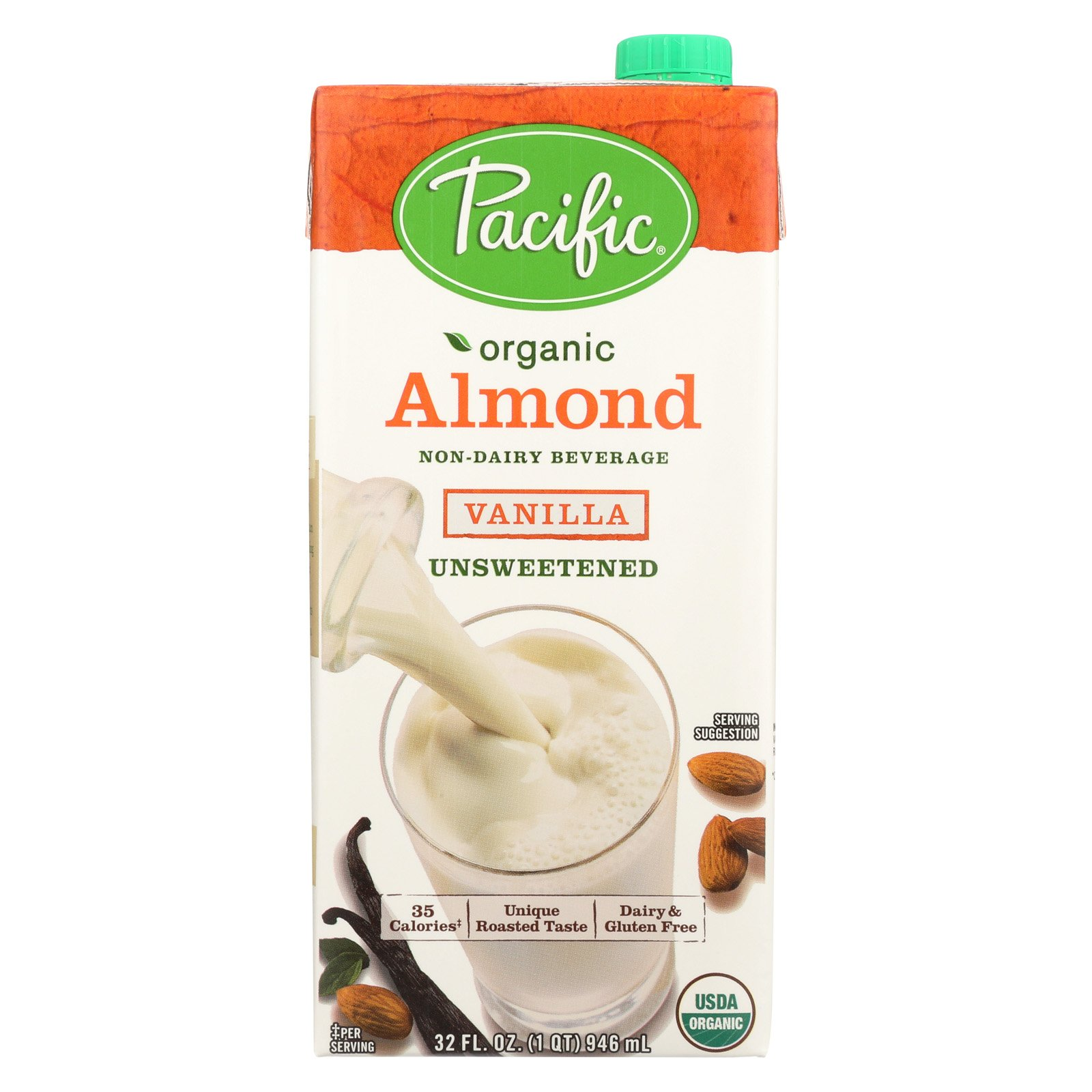 Pacific Natural Foods Almond Vanilla - Unsweetened - Case of 12 - 32 Fl oz.