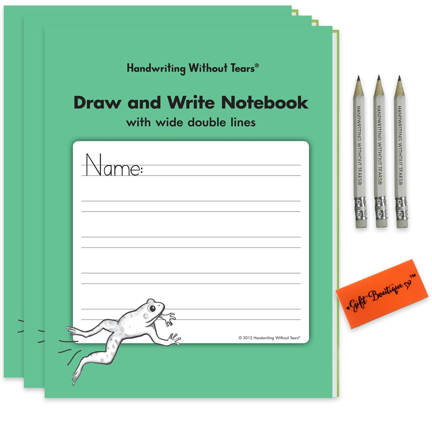 Handwriting Without Tears Writing- Draw and Write English Notebook- With Wide Double Lines Children Award Winning Learning Activities For Students + Bonus Pencil For Little Hands +Gift Boutique Eraser