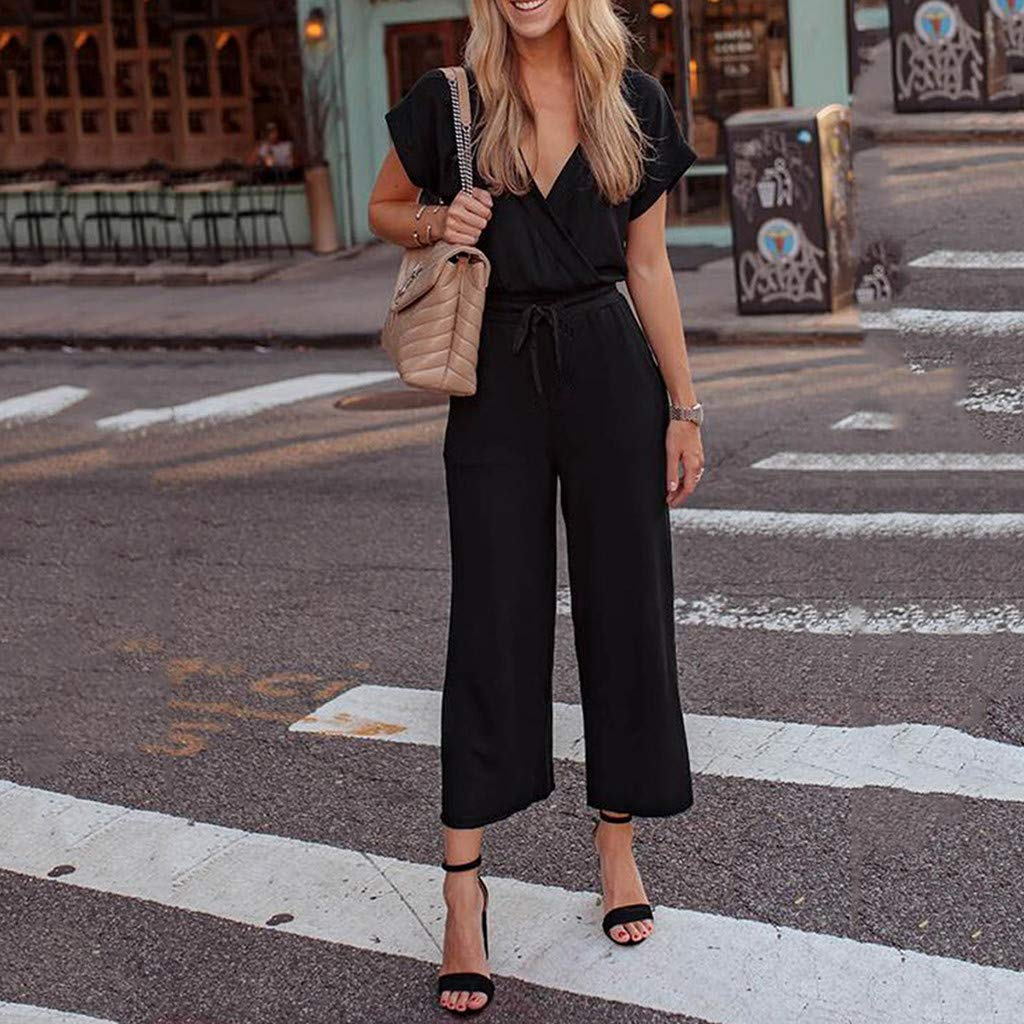 Ximandi Womens Solid Jumpsuit Casual V Neck Loose Long Wide Legs Pants Jumpsuit Rompers with Pockets