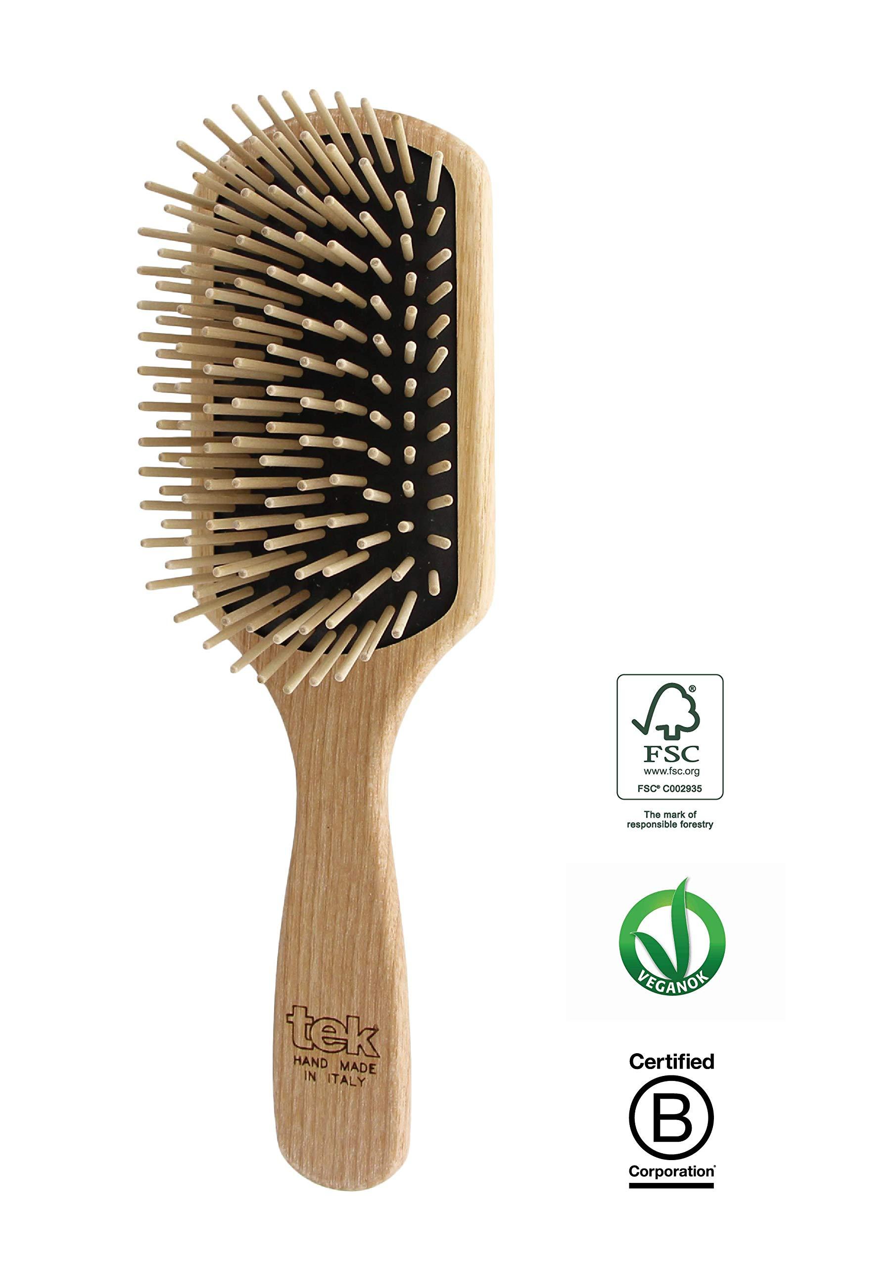 Tek paddle hair brush in ash wood with long pins - Handmade in Italy by TEK