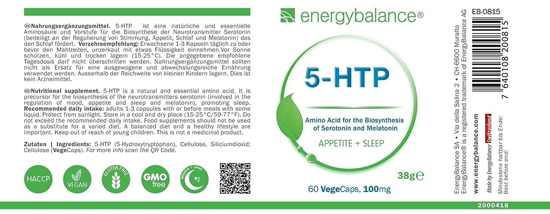 5-HTP Aminoácido 100mg | Aminoácido esencial | Serotonina ...