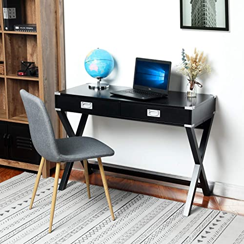 YOUNIS MDF Wooden Writing Desk with Drawers- Modern Computer Desk with Metal Decoration, X-Frame Leg Design Workstation Home Office Desk, Black