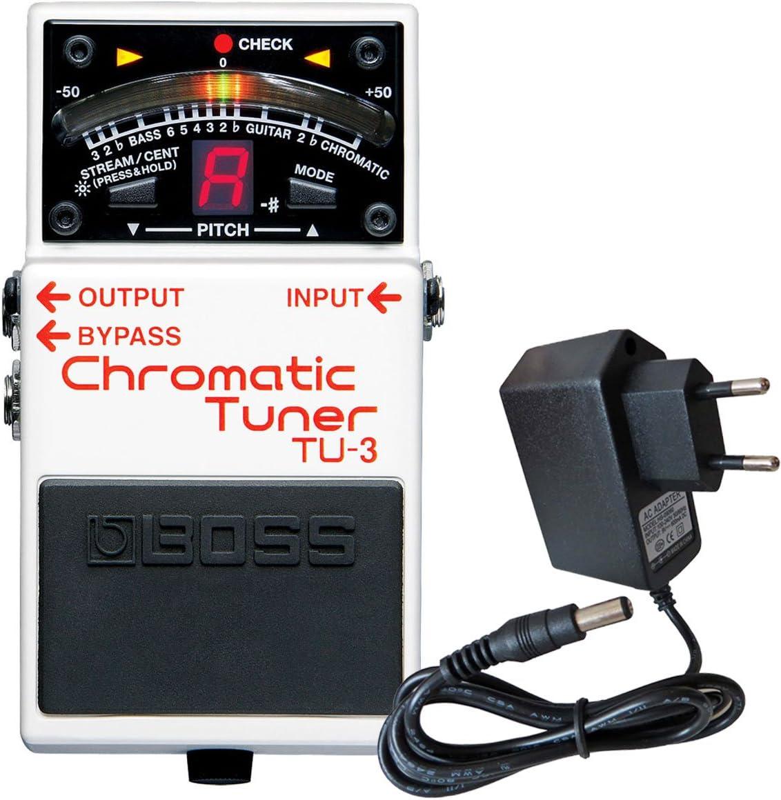 Afinador cromático de pedal Boss TU-3con fuente de alimentación Keepdrum 9V