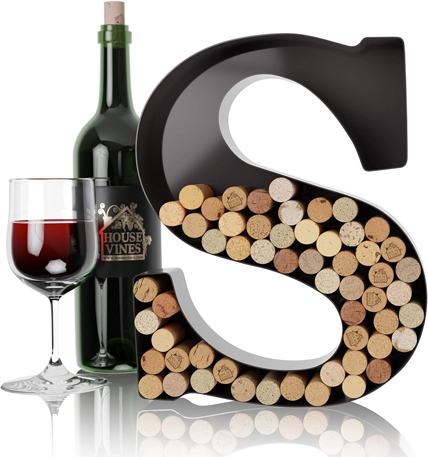 Wine Letter Cork Holder Art Wall Décor ~ Metal Letter Wine Cork Holder Monogram ~ Individual Wine Letter Cork Holders A Thru Z ~ Gifts for Wine Lovers ~ by HouseVines (S)