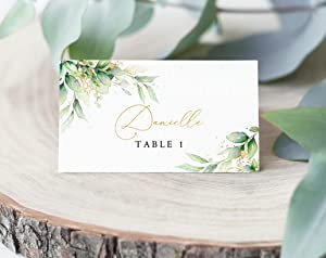 Gold & Greenery Place Cards | Escort Seating Cards | Wedding Name Cards | Cheese Marker | Charcuterie Board Accessories | Rustic Wedding Decor | Scored for Easy Folding, 50 Pack, 2 x 3.5 in