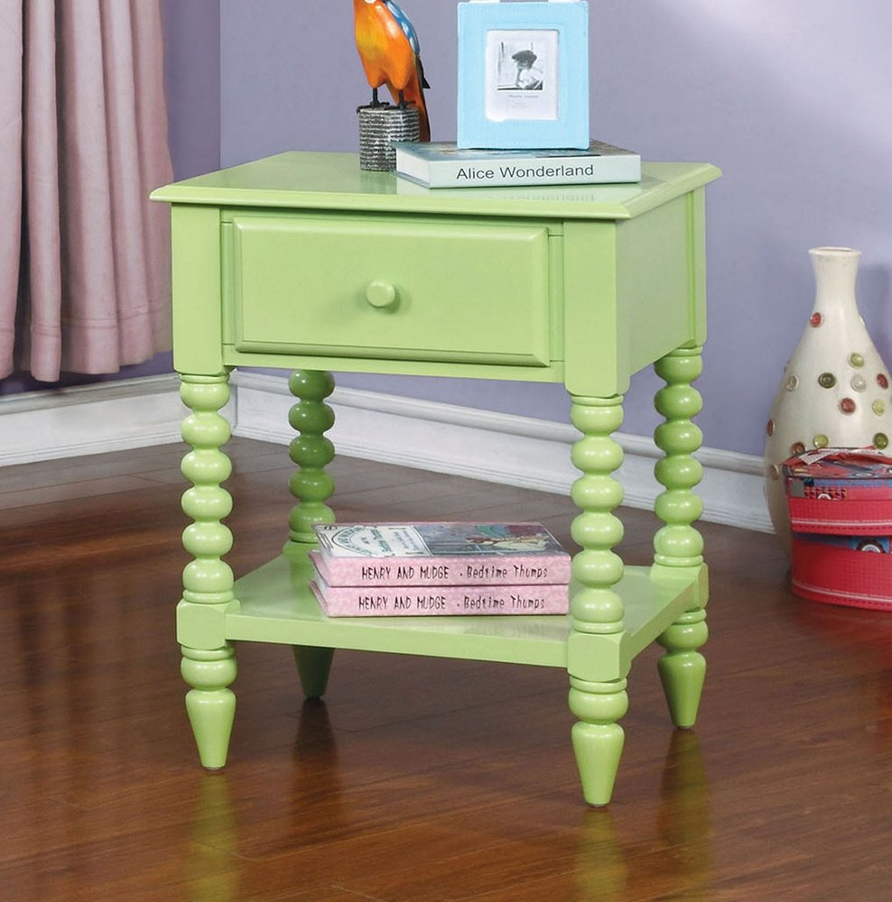 Lindsey Cottage Style Green Finish Youth Nightstand by Furniture of America