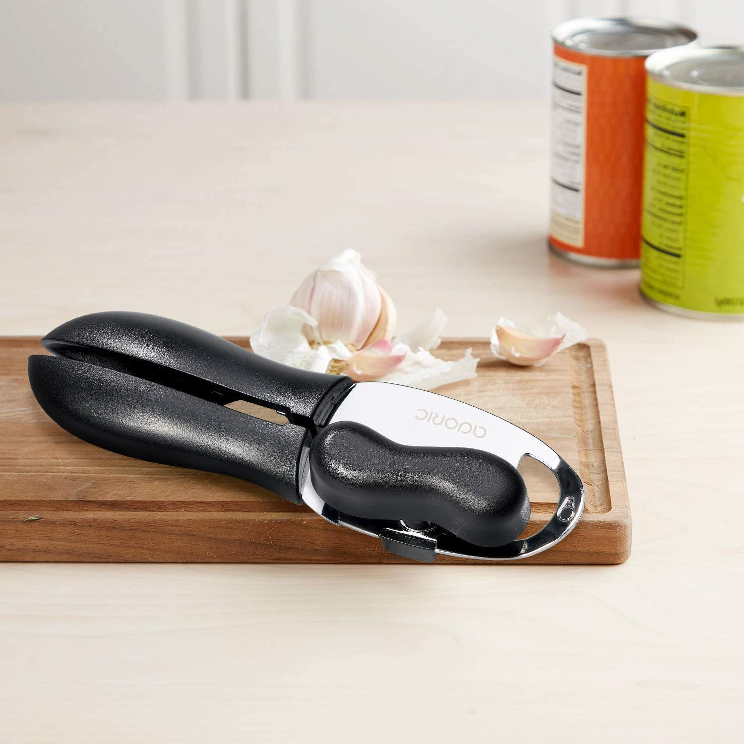 Food-Safe Stainless Steel 4-in-1 Manual Can Opener Manual Can Opener Stainless Steel Bottle Opener 3 Spare Blades Included Great for Seniors with Arthritis Black