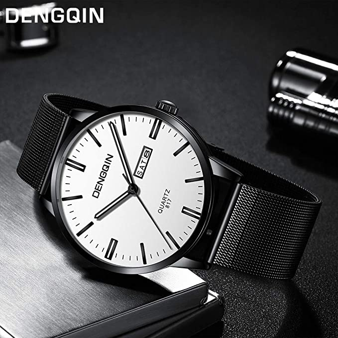 Amazon.com: SIN vimklo Mens Watches Luxury Quartz Sport Military Stainless Steel Dial Band Wrist Watch: Clothing