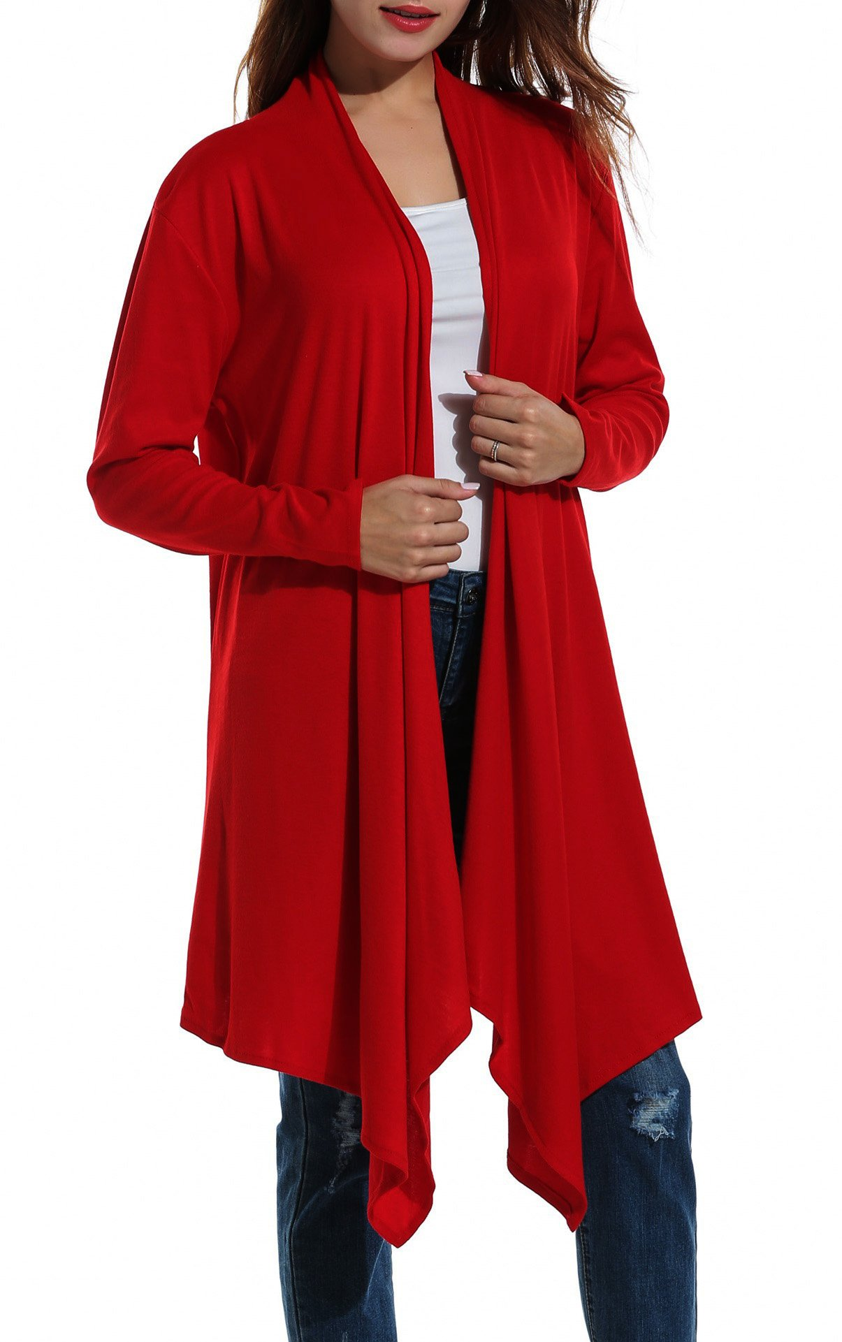 Zeagoo Women Asymmetric Draped Open Front Long Sleeve Soft Duster Cardigan Sweater,Date Red,X-Large