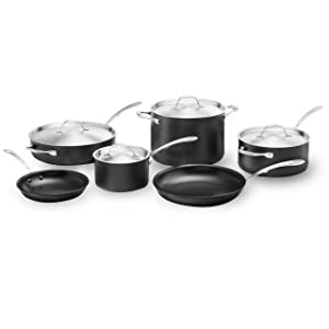 Kitchara Hard Anodized Cookware Set, 10 Piece, Aluminum Non Stick Pans with Stainless Steel Lid