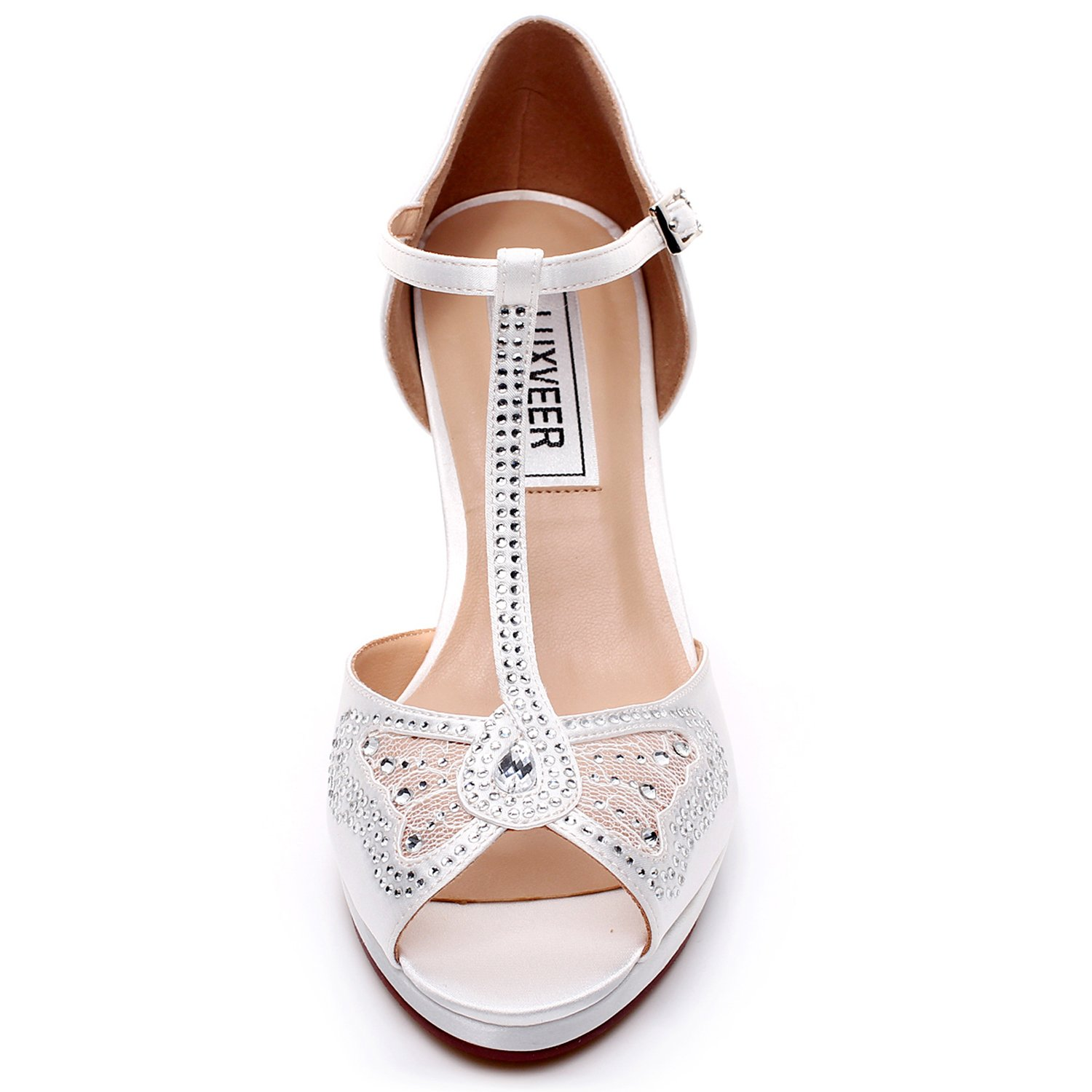 LUXVEER Wedding Sandals Heels for Women ,Silver Rhinestone and Lace Butterfly - Heels 3.5 inch-HK-0192C-Ivory-EU40 Wedding Shoes by LUXVEER (Image #4)