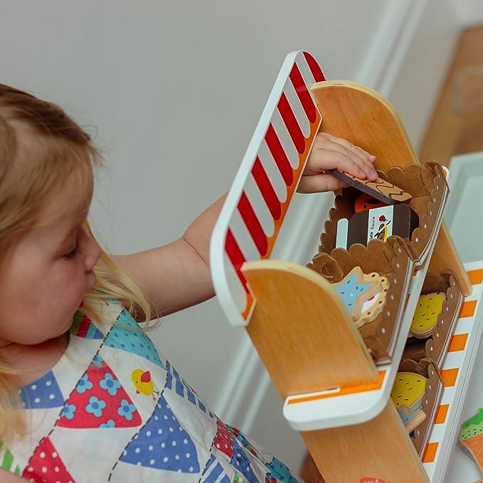 Bee Smart Jouez au supermarch/é avec Les Enfants /Magasin de Jouets en Bois jouez avec des Pi/èces d/'Aliments /Le Coffret inclut 26/Pi/èces de Nourriture en Bois