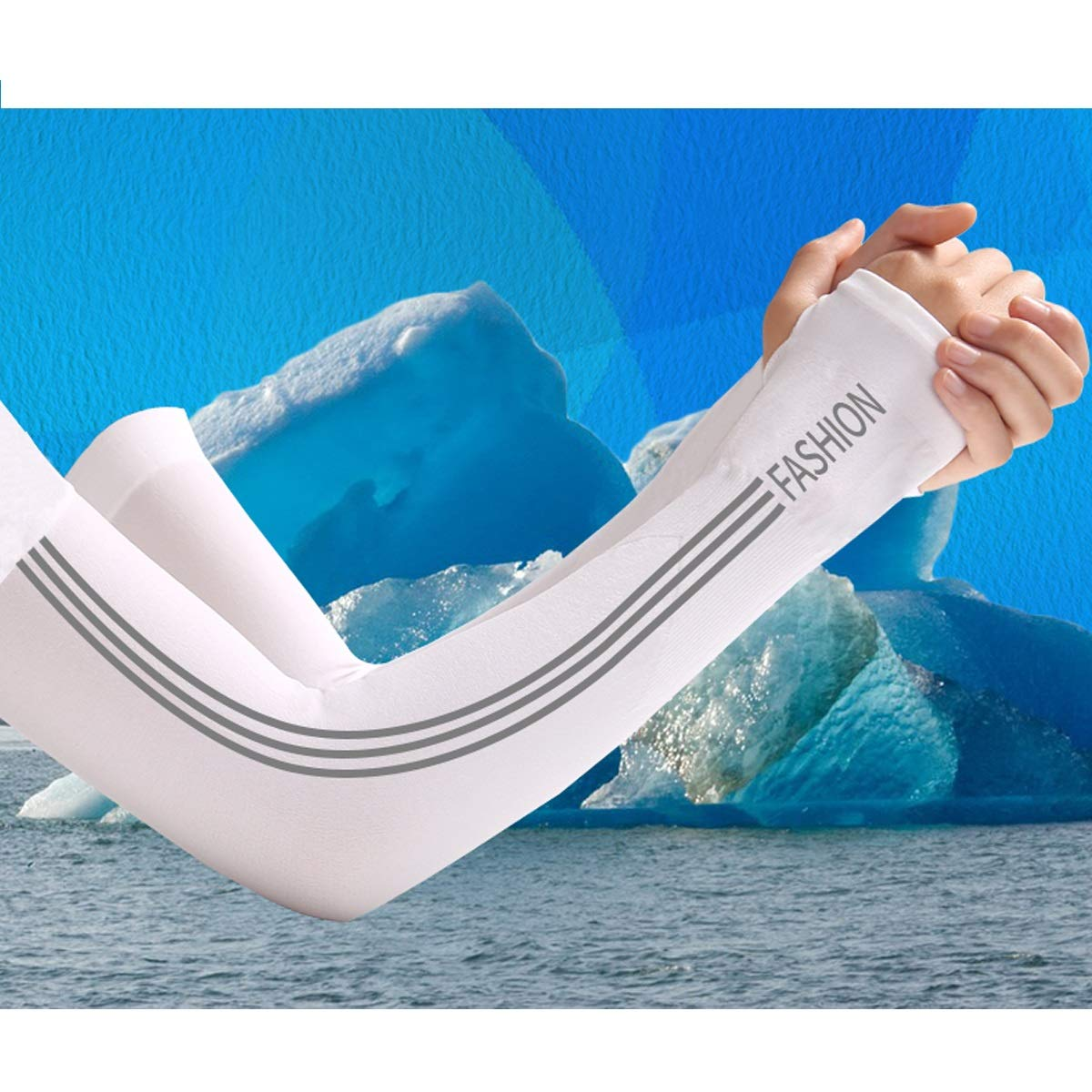 Fengkuo Cool Sleeve Sunscreen Gloves Summer Anti-uv Sports Thin Ice Silk Mens Armguard Two Double Outfit Light and breathable