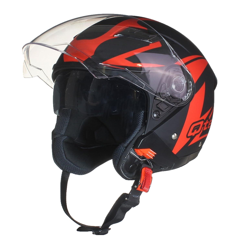 Pare Soleil Interne Double Visi/ère Scooter ROUGE 57-58cm JET Helm Casque de moto FACE OUVERTE M