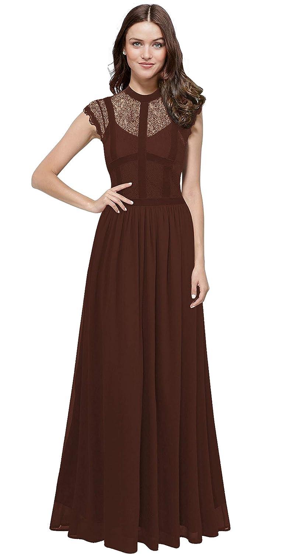 Chocolate VaniaDress Women Elegant Lace Sheer Neck Long Bridesmaid Dress Prom Gowns V286LF