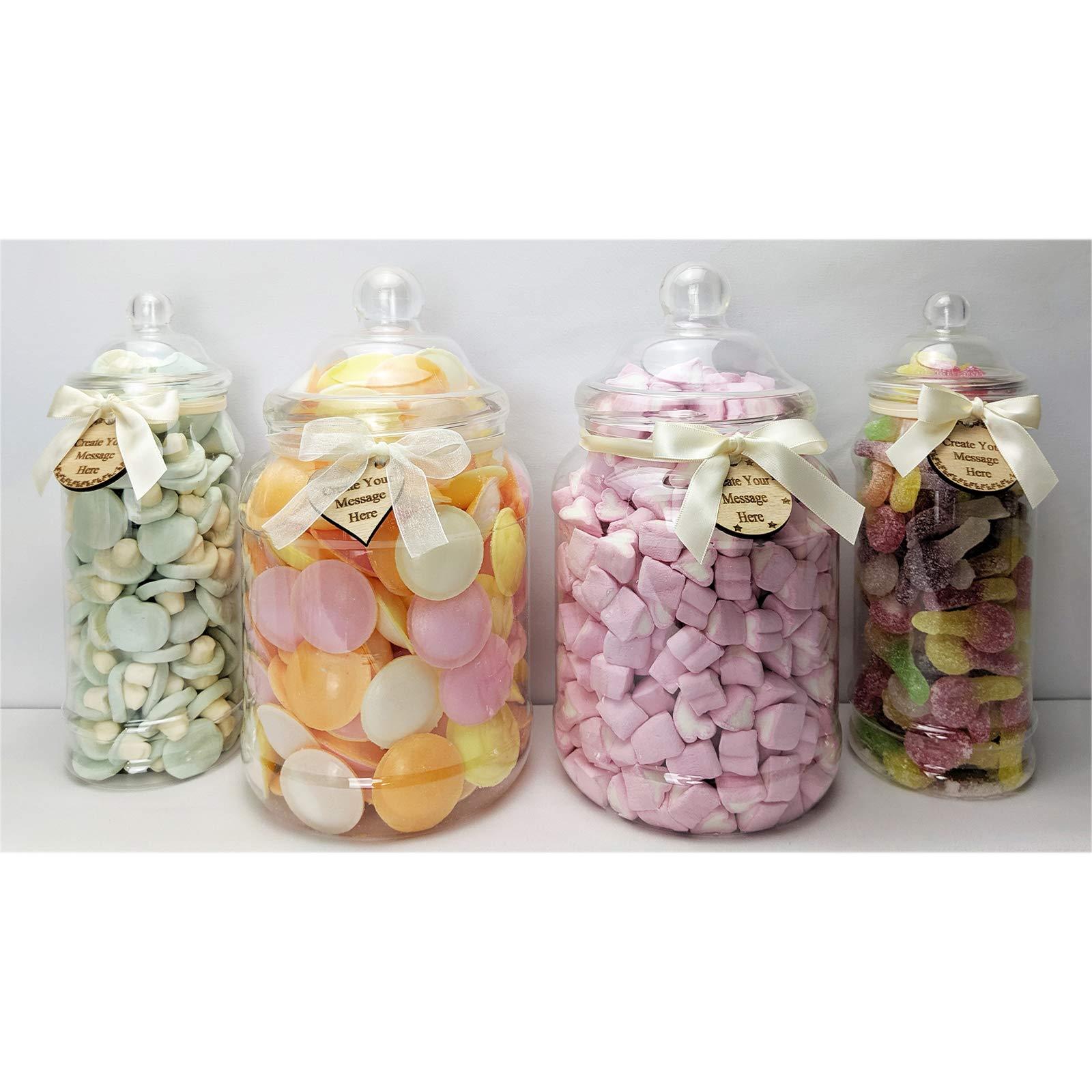 8 Vintage Plastic Sweet Jar Candy Buffet Wedding Party Kit Scoop Tong Stripe Bag