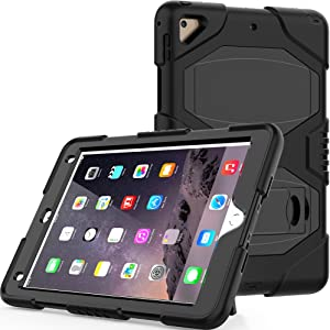 Hansin iPad 9.7 2018/2017 Case, Heavy Duty Shockproof Rugged Hybrid Impact Resistant Armor Defender Full Body Protective Silicone Kickstand Cover for Apple iPad 9.7-inch, Black