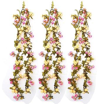 Künstliche Rose Blumen Efeugirlande Hängende Rebe Für Hochzeit Party Garten  Wanddekoration (2 Satz, Champagner