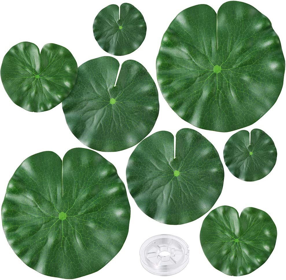 Auihiay 8 Pieces 4 Size Artificial Floating Plants Lily Pads with Fishing Line for Ponds Pool Aquarium Decorations