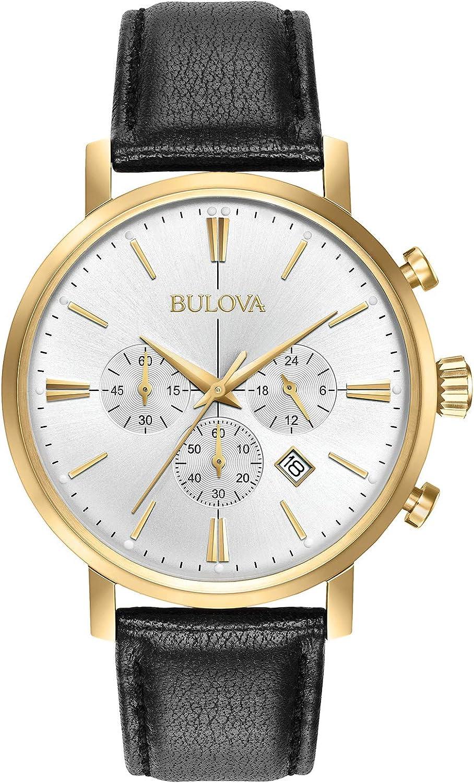 Bulova Men s Stainless Steel Analog-Quartz Watch with Leather-Alligator Strap, Black, 20 Model 97B155